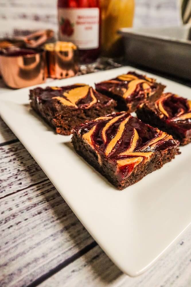 Vegan Peanut Butter and Jelly Brownies