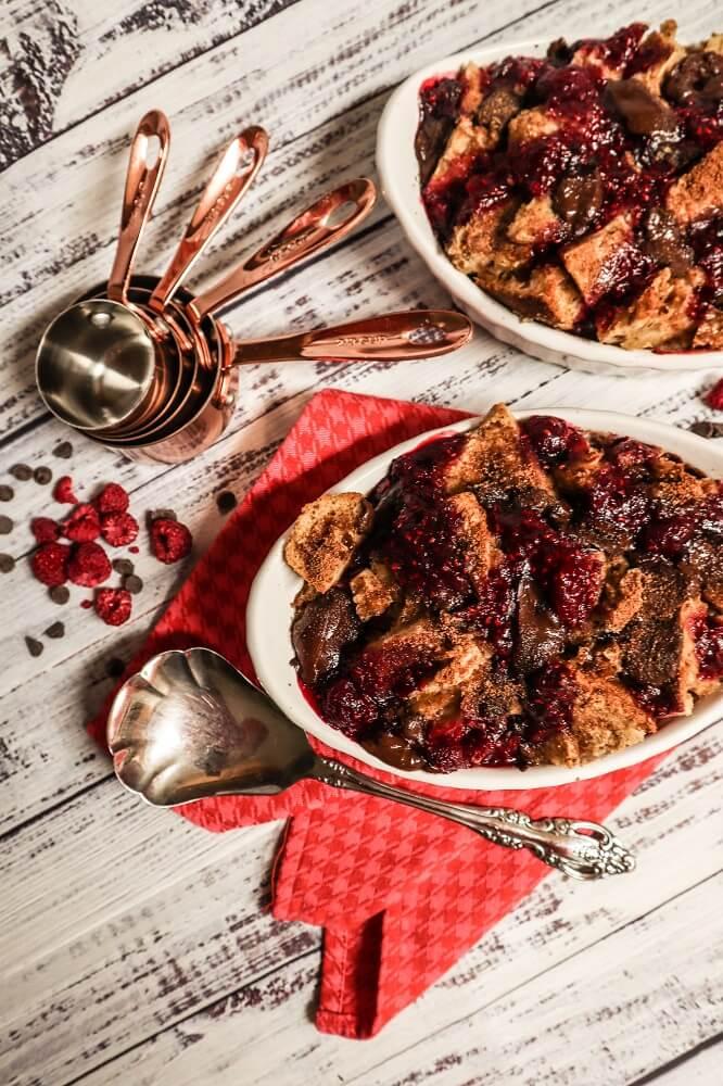 Vegan Raspberry Chocolate Chunk Bread Pudding
