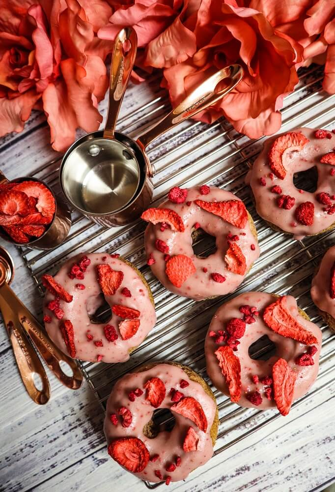 Vegan Vanilla Berry Rose Doughnuts
