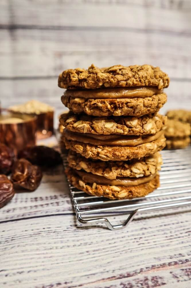 Vegan Caramel Oatmeal Cookie Sandwiches