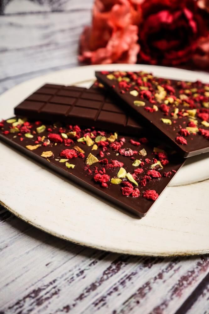 "Vegan Raspberry Pistachio ""Milk"" Chocolate Bars"