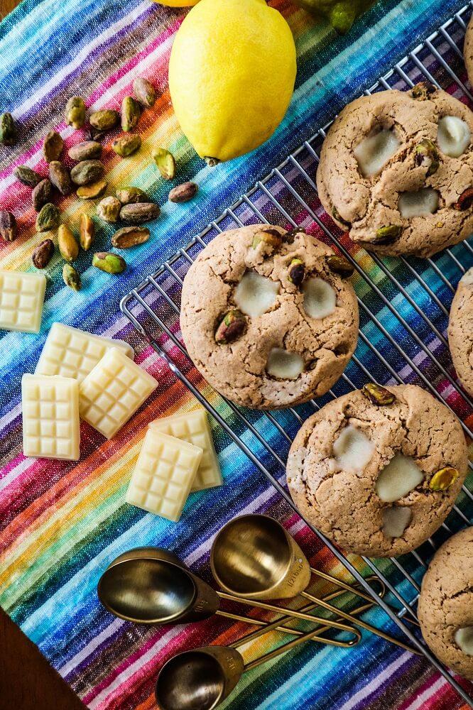 Vegan Pistachio Lemon White Chocolate Chunk Cookies