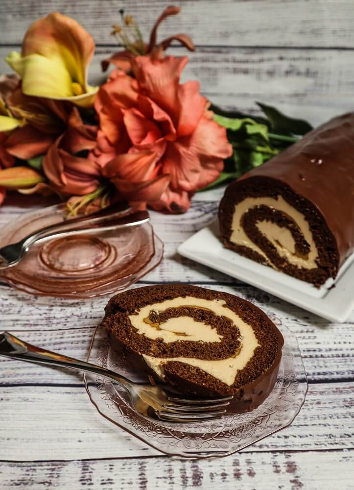 Vegan Chocolate Peanut Butter Roll Cake