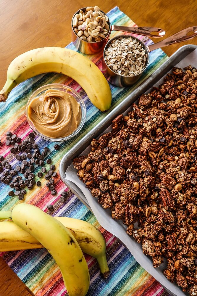 Vegan Peanut Butter Chocolate Banana Granola