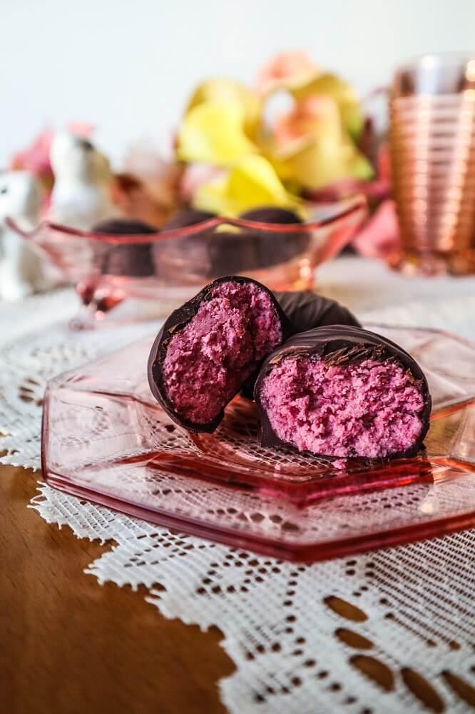 Vegan Raspberry Chocolate Eggs