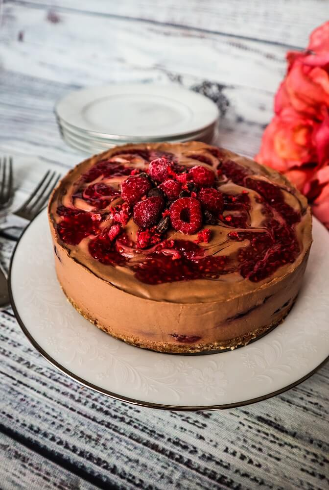 Vegan Raspberry Swirled Chocolate Cheesecake