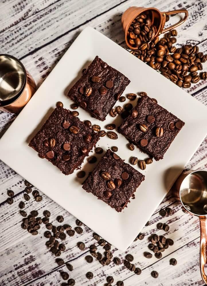 Vegan Dark Chocolate Mocha Brownies