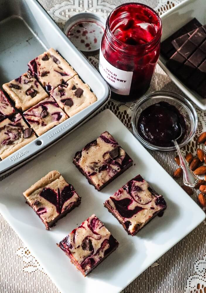 Vegan Blackberry Almond Cream Cheese Swirl Brownies