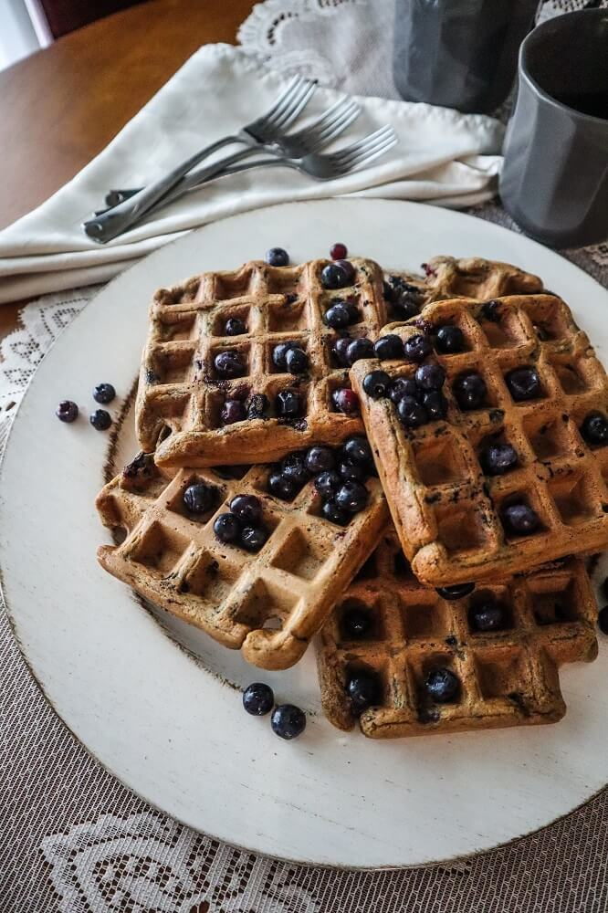 Vegan Blueberry Vanilla Waffles