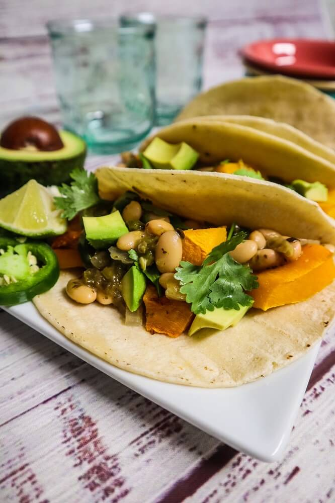 Roasted Butternut Squash Tomatillo Chili Tacos