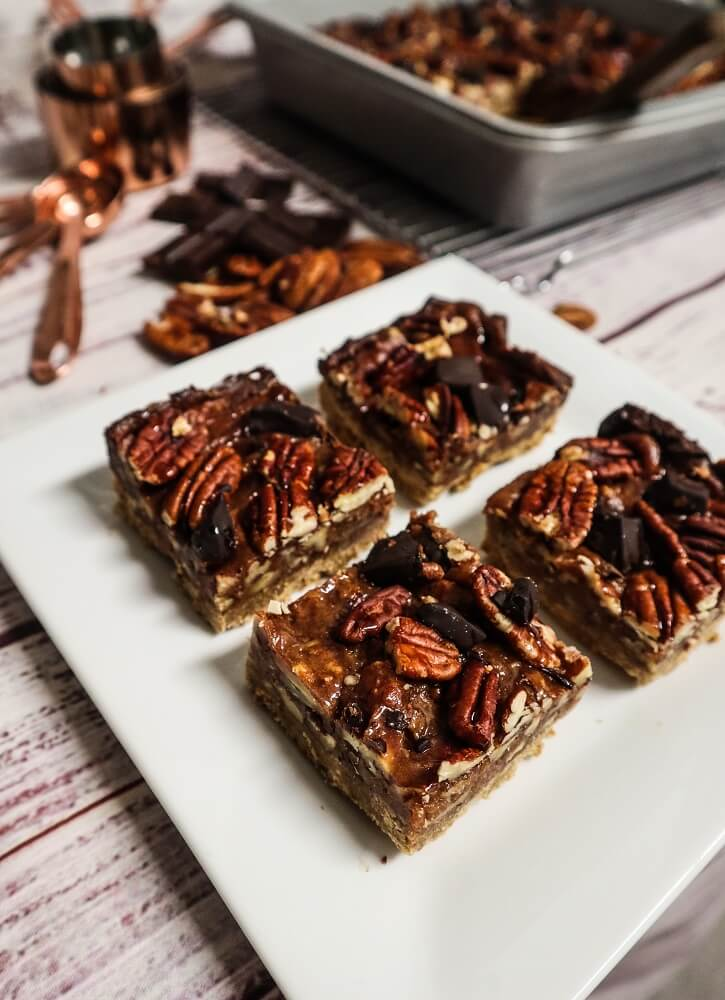 Vegan Chocolate Chunk Pecan Pie Bars