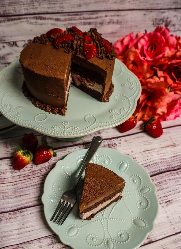 Vegan Chocolate Strawberry Cake