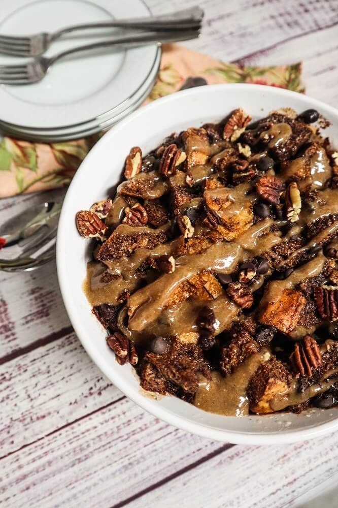 Vegan Chocolate Caramel Pecan Bread Pudding
