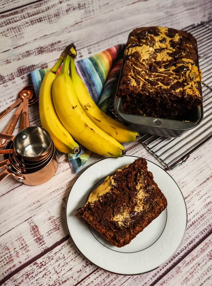 Vegan Dark Chocolate Peanut Butter Swirled Banana Bread
