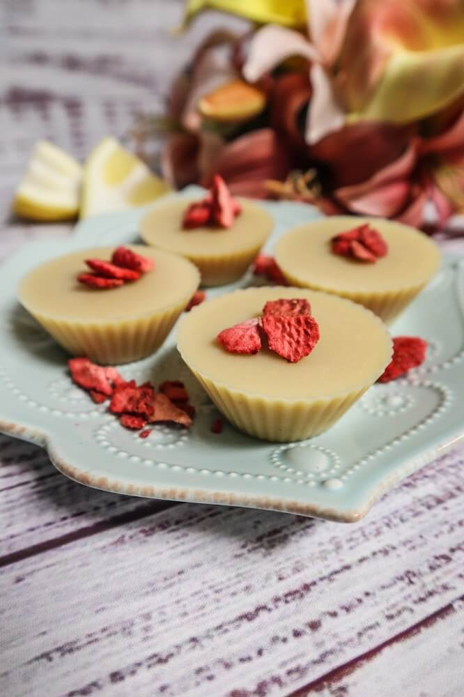 Vegan Strawberry Lemon White Chocolate Cups