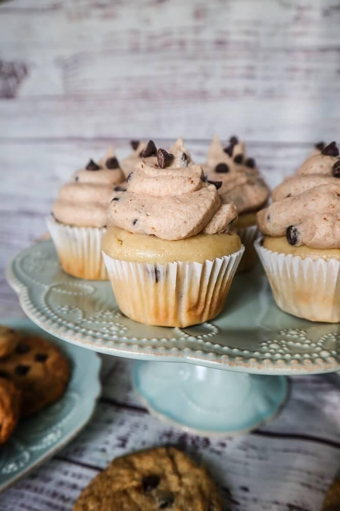 Vegan Chocolate Chip Cookie Dough Cupcakes