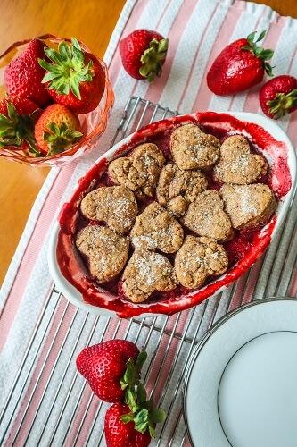 Vegan Strawberry Cobbler with Vanilla Pecan Biscuits
