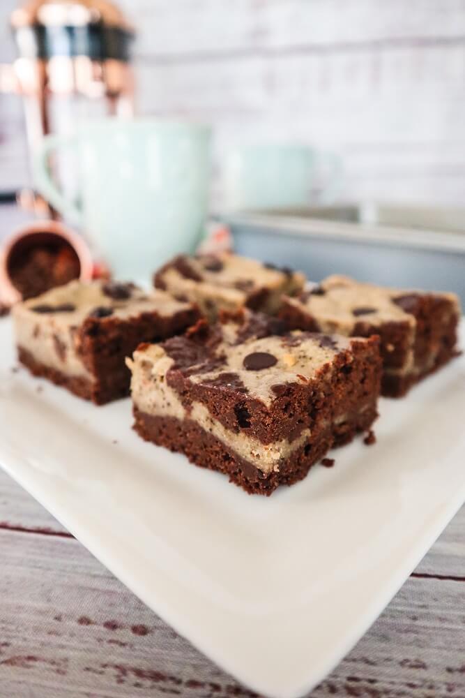 Vegan Cappucchino Cheesecake Swirl Brownies