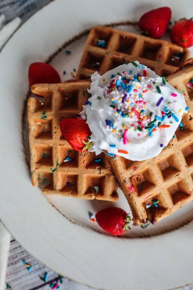 Vegan Birthday Cake Waffles