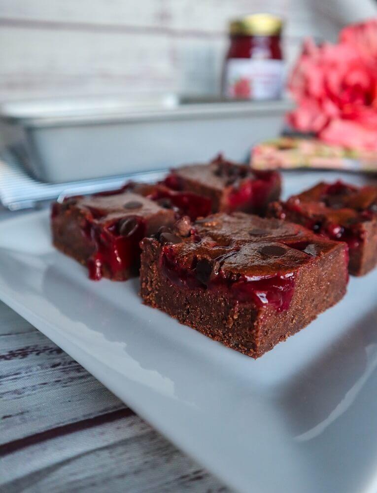 Vegan Raspberry Truffle Swirl Brownies